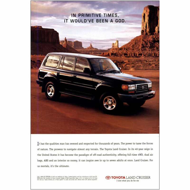 1997 Toyota Land Cruiser: Primitive Times Would Have Been God Vintage Print Ad