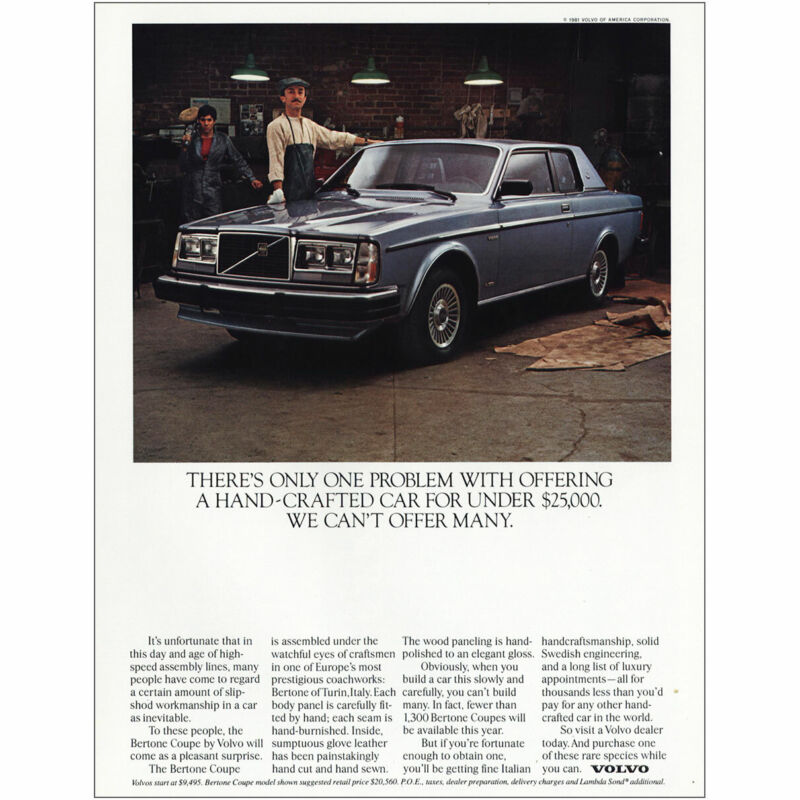 1982 Volvo: One Problem Offering Hand Crafted Car Vintage Print Ad