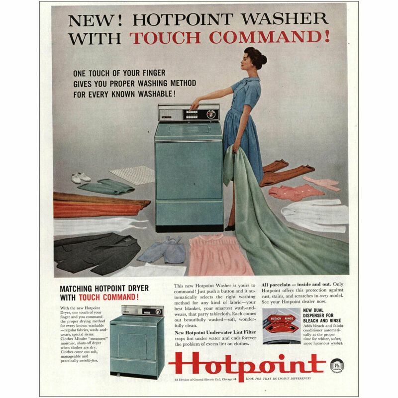 1960 Hotpoint Washer: Touch Command Vintage Print Ad