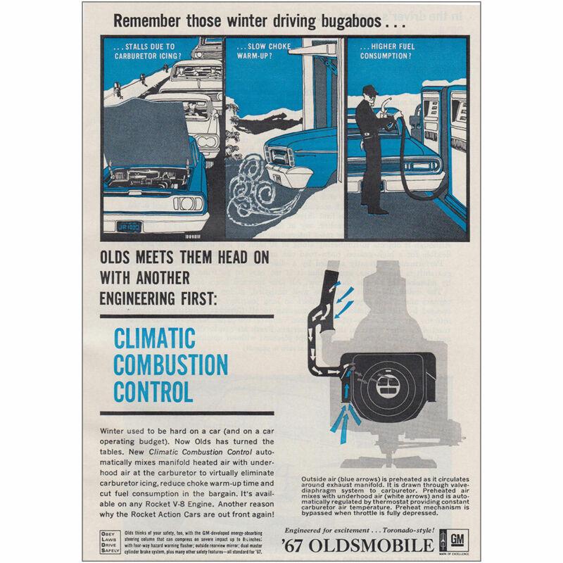 1967 Oldsmobile: Remember Those Winter Driving Bugaboos Vintage Print Ad