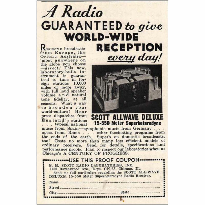 1933 Scott Allwave Deluxe: World Wide Reception Vintage Print Ad