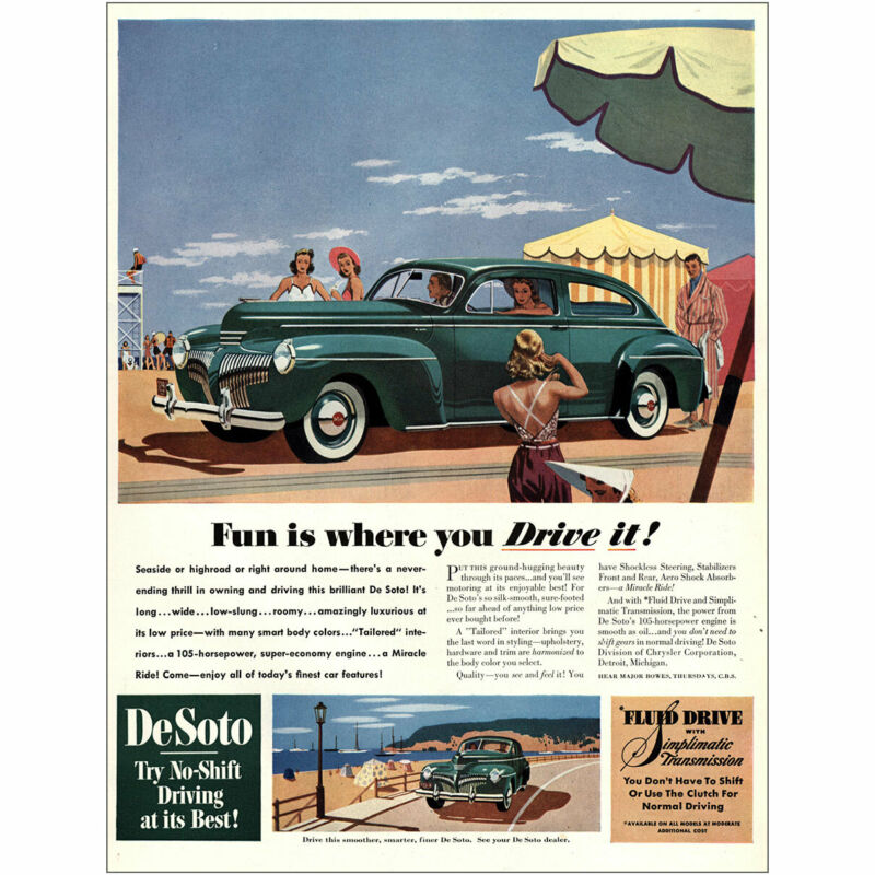 1941 DeSoto: Fun Is Where You Drive It Vintage Print Ad