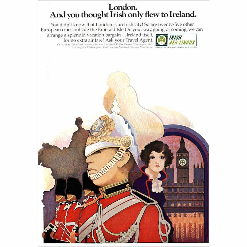 1969 Irish Aer Lingus: London Vintage Print Ad