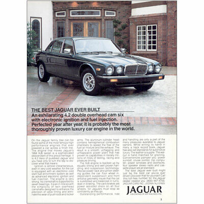 1985 Jaguar: Exhilarating 4.2 Double Overhead Vintage Print Ad