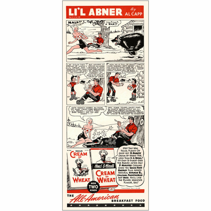 1941 Cream of Wheat: Lil Abner Tsk a Bar Vintage Print Ad