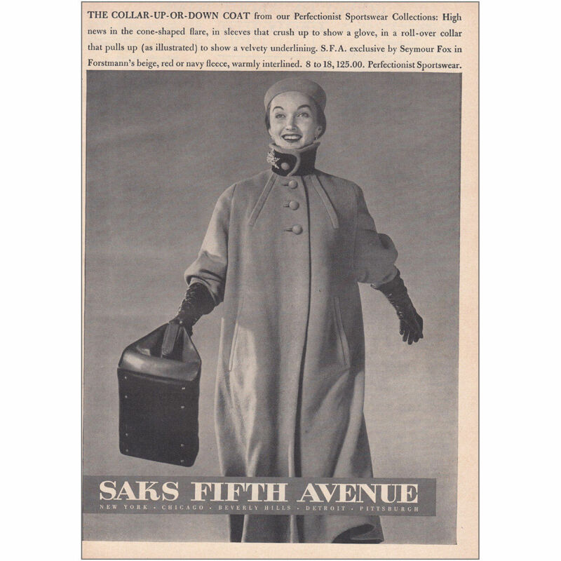 1950 Saks Fifth Avenue: Collar Up Or Down Coat Vintage Print Ad