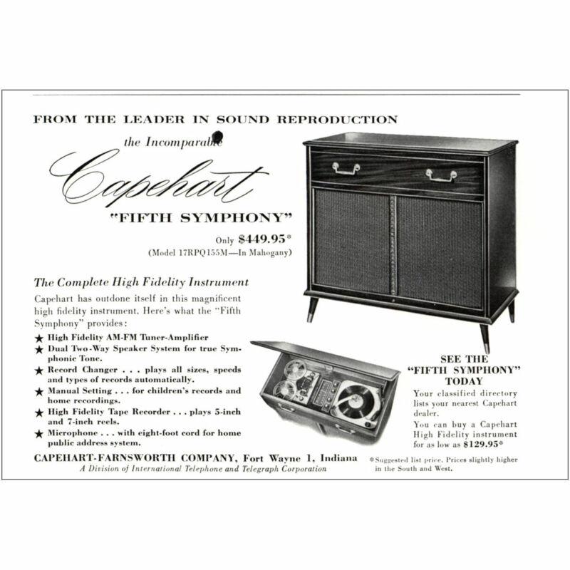 1955 Capehart: Fifth Symphony Vintage Print Ad