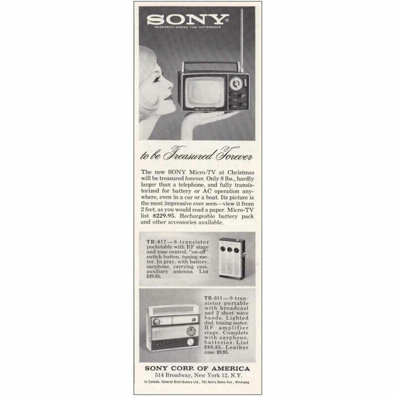 1963 Sony Micro TV: Treasured Forever Vintage Print Ad