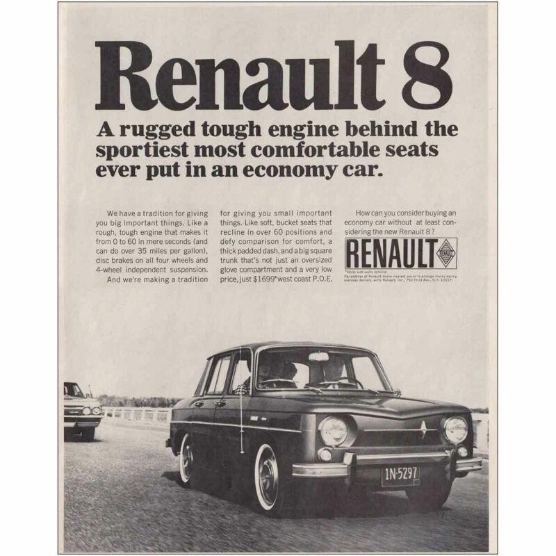 1966 Renault 8: Rugged Tough Engine Vintage Print Ad