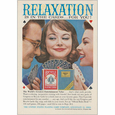 1958 Bicycle Playing Cards: Relaxation Vintage Print Ad