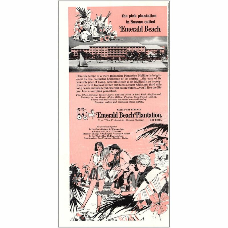 1967 Emerald Beach Plantation: Pink Plantation Nassau Bahamas Vintage Print Ad