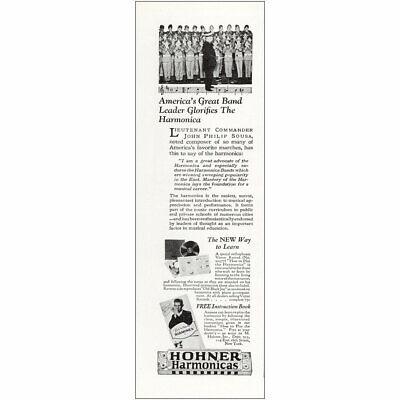 1927 Hohner Hamonicas: Great Band Leader Glorifies Vintage Print Ad