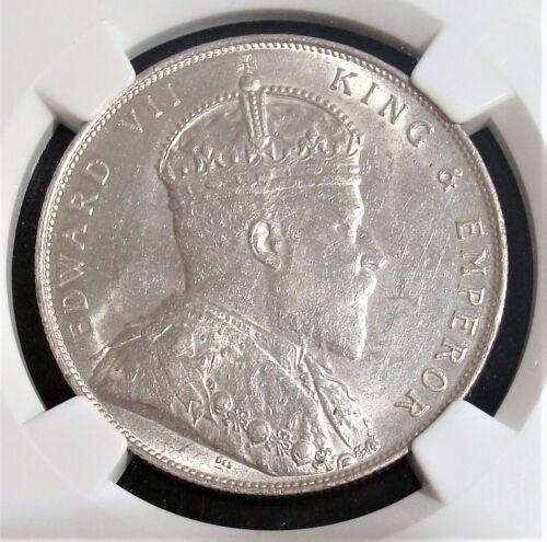 Straits Settlements: British Colony. Edward VII Dollar 1907 MS61 NGC.