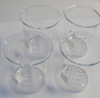 Set Of 4 Glass Lab Beaker Low Form 150 Ml 5 Oz Shot New