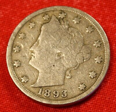 1893 LIBERTY V NICKEL VG  DATE BEAUTIFUL COLLECTOR COIN GIFT  LN305