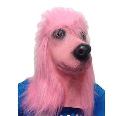Rosa Pudel Hund Kostüm (Pink Pudel Hund Maske weiß Latex Hund mit Kapuze Tier Kostüm Masken)