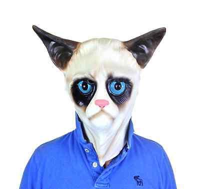 Mürrische Katze Siamesische Latex Maske Ragdoll Pussy Tiermasken Maskenkostüm