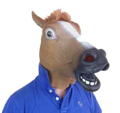 gomma marrone testa di cavallo maschera PIENA lattice vestito da CERVO Pantomime