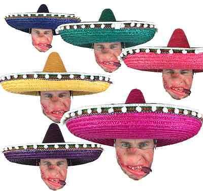 groß Sombrero Mexikanisch Hut Deluxe Stroh Gringo Hut Kostüm Verkleidung Party