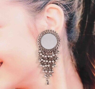 Bollywood German Silver Plated Mirror Jhumka Jhumki Earrings for Women best