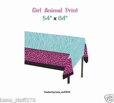 Animal Print Table Cover, Cheetah & Zebra Stripes, Birthday Party, Graduation 1p