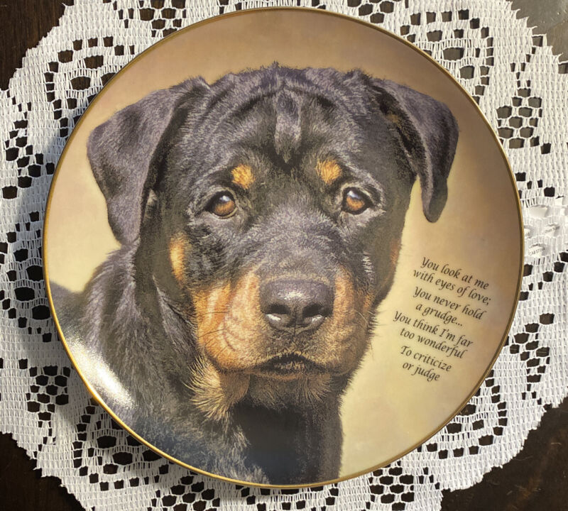 """Danbury Mint ROTTWEILER """"Eyes Of Love""""Collector Plate Limited Edition"""