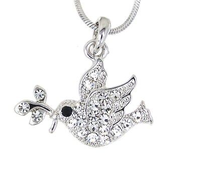 "Dove Olive Branch Austrian Crystal Pendant 17"" Silver Necklace Bird"