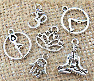 6 YOGA Theme Charms Antique Silver Mixed Charm Collection Set Lot US Seller (Yoga Charms)
