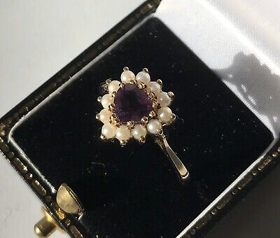 Vintage Heart shaped 9ct Gold Amethyst and Pearl Ring, Size P 1/2