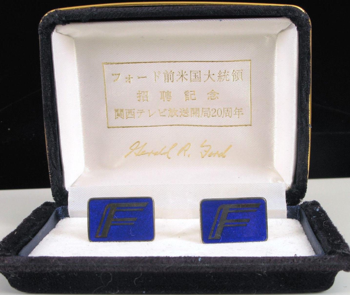 Selten des Präsidenten Sterling Silber Manschettenknöpfe Gerald R Ford Chinese O