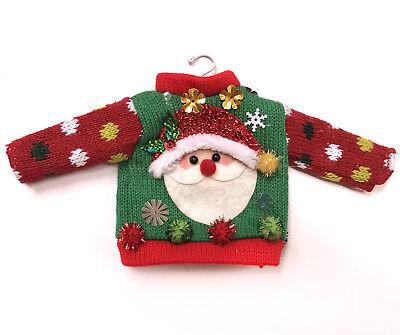 Ugly Sweater Santa Claus Christmas Ornament Miniature Doll Knit Shirt Top Hanger