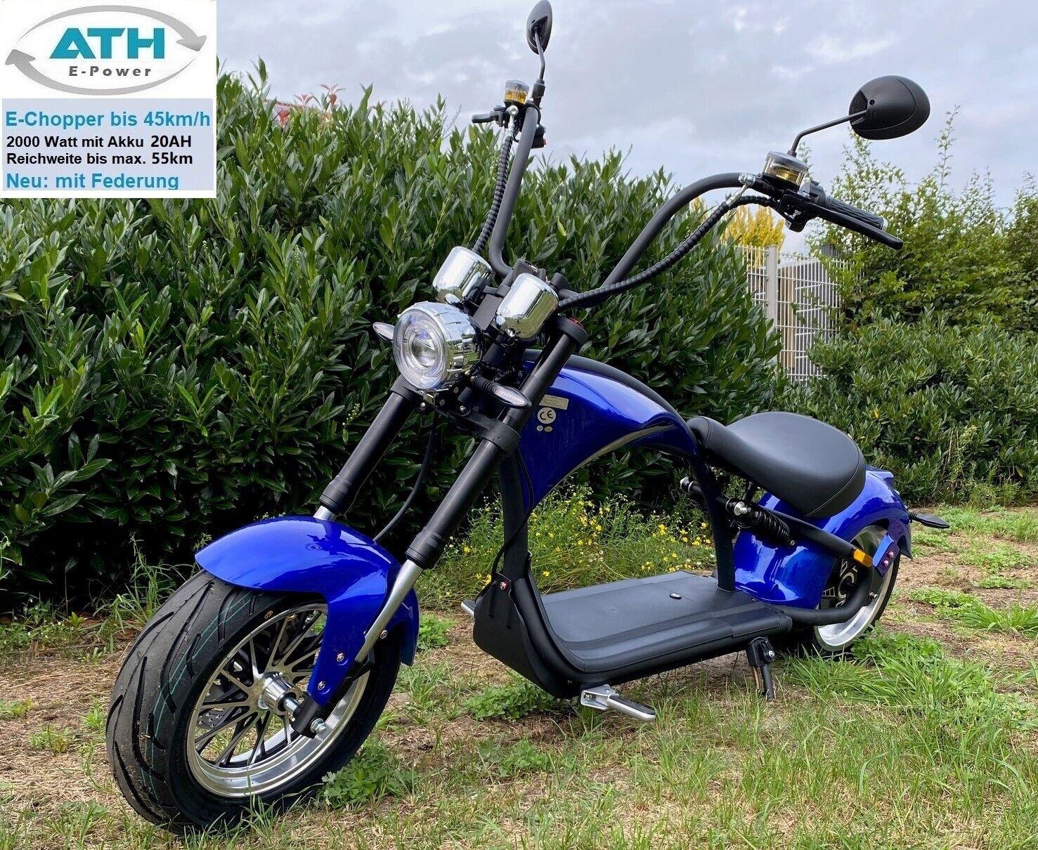 E Roller Elektro Chopper blau 2000W 45km/h 30AH Straßenzulassung Scooter Bike