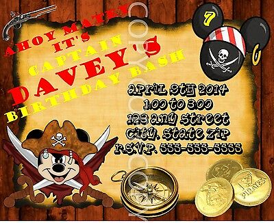Pirate Mickey Mouse Birthday Invitations Personalized 8 pk