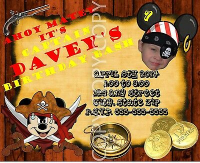 Pirate Mickey Mouse Birthday Invitations Photo Personalized 8 - Photo Mickey Mouse Invitations