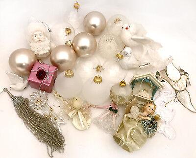 1990's Victorian Theme Christmas Ornaments Lot of 15 Angel Balls Dove - 1990s Theme