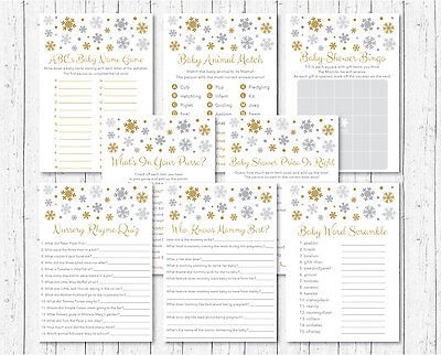 Silver & Gold Snowflake Baby Shower Games Pack - 8 Printable Games  ](Snowflake Baby Shower)