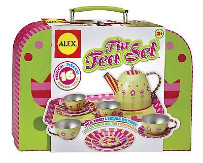 ALEX Toys Tin 16-Piece Tea Set Indoor And Outdoor Tea Parties For Kids 705W New