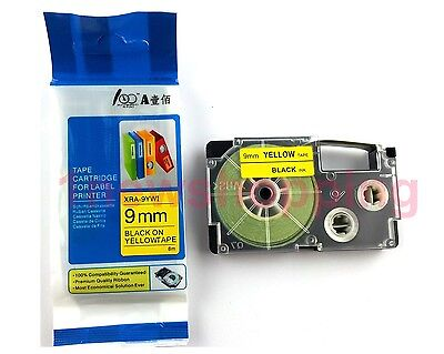 Great Quality Compatible For Casio Tape 9mm Black On Yellow Label Xr-9yw1