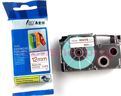 Great Quality Compatible For Casio Tape 12mm Red On White Label Xr-12wer1