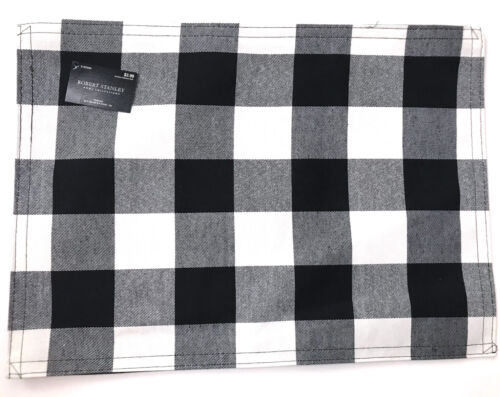 Black & White Buffalo Plaid Placemat Check Robert Stanley Country R