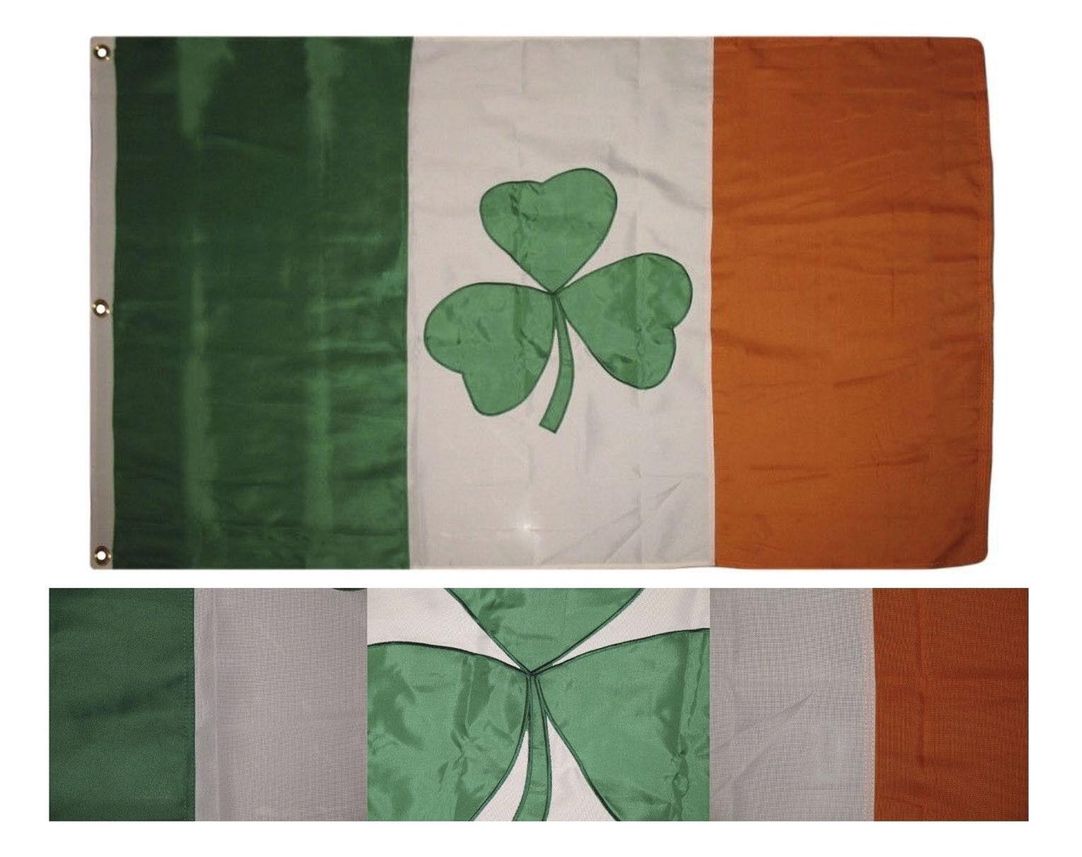 3x5 Embroidered Sewn Ireland Irish Shamrock 2ply 300D Nylon