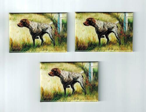 New German Shorthaired Pointer Magnet Set 3 Magnets By Ruth Maystead MFR # GSP-6