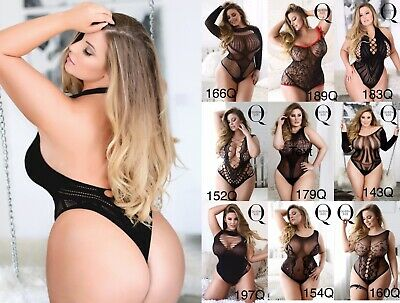 PLus size Sexy Stretch Bodysuit Body Stocking Queen Lingerie Mesh Fishnet Garter