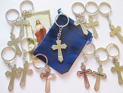 Wholesale Lot of 12 Metal Cross Key Chains with Key Ring, Great Gifts - Cross Key Chains