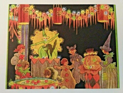 *UNUSED* Halloween Postcard: Festive Halloween Party Vintage Image~Reproduction