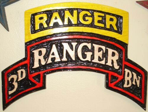 3rd RANGER Batt Scroll,  wood carving, plaque, airborne, tab, Battalion