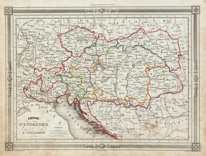 1852 Vuillemin Map of the Austrian Empire
