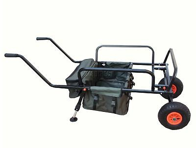 Fishing Trolley 2 Pneumatic Wheel Folding Barrow Cart with Bag Adjustable Legs