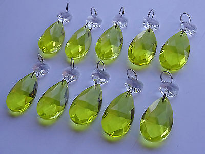 10 CHANDELIER LIGHT GLASS CRYSTALS DROPLETS LIME GOLD WEDDING PRISMS DROPS BEADS