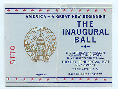 1981 Ronald Reagan Presidential Inaugural Ball ticket stub, Smithsonian